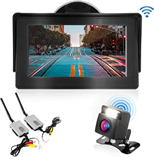 """Wireless Backup Rear View Camera - Waterproof Car Parking Rearview Reverse Safety/Vehicle Monitor System w/ 4.3"""" Video Color LCD Display Screen, Distance Scale Lines, Night Vision - Pyle PLCM4580WIR,"""