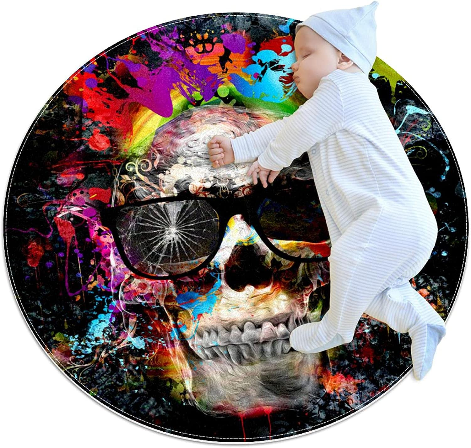 Pet Round Mat Skull Feeding Colorful 5 ☆ very popular Dogs for Ranking TOP8 Beds Cats