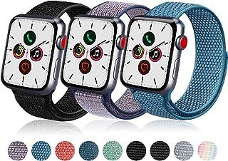 Vanjua コンパチブル Apple Watch バンド 38mm 40mm 42mm 44mm,ナイロンスポーツループバンド アップルウォッチ交換バンドiWatch Series 5/4/3/2/1 に対応 (38mm/40mm, ブラック...