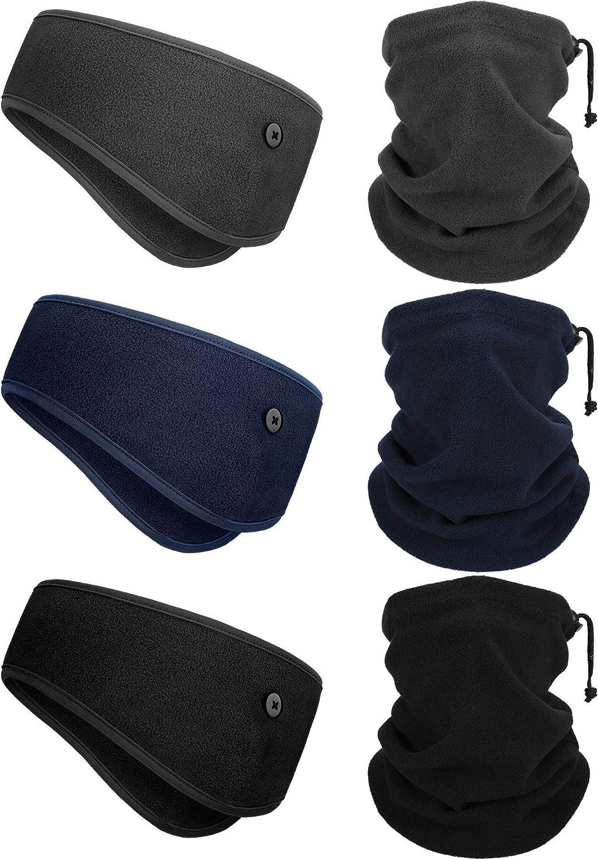 6 Pieces Winter Fleece Ear Warmer Headband Ear Muffs Head Wraps with Winter Fleece Neck Warmers Gaiter for Outdoor Sport Activities