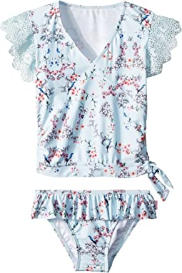 Seafolly Kids Blue Birds Garden Short Sleeve Ballet Rashie Set (Toddler/Little Kids)