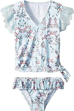 Blue Birds Garden Short Sleeve Ballet Rashie Set (Toddler/Little Kids)