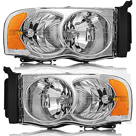 ECCPP Headlight Assembly for Dodge Ram 1500 2002-2005,for Dodge Ram 2500 2003-2005,for Dodge Ram 3500 2004-2005 Driver/&Passenger Side Headlamps Black Housing Amber Reflector Clear Lens