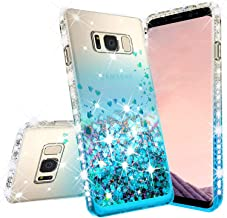 Galaxy S8 Case Galaxy Wireless Liquid Glitter Phone Case w/Tempered Glass Screen Protector Shock Proof Quicksand Bling Cute Girl Women Cover Compatible for Samsung S8 - Teal/Clear