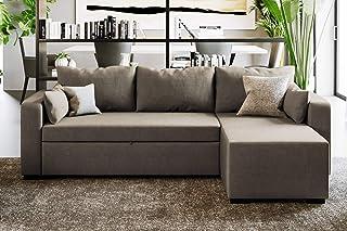 Confort24 Eric Sofá Cama 3 Plazas Chaise Longue Derecha o Izquierda Reversible y Convertible Gris Sofá de Salon Decoración de Hogar Cojines y Tapicería de Piel Sintética