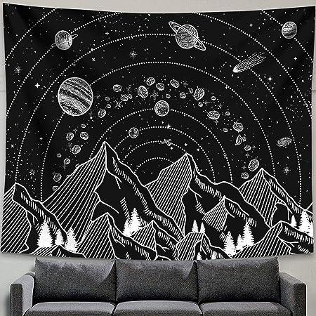 Mountain Lune Tapestry Wall Hanging étoiles noir et blanc Art Tapisserie Home B1I1