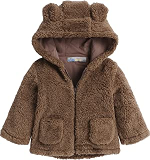 Baby Hooded Jacket Fleece Hoodie Spring Cute Bear Shape Outerwear with Ears Pocket for Boys Girls Toddler