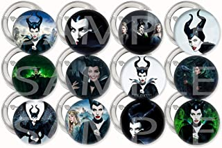 """Maleficent Buttons Party Favors Supplies Decorations Collectible Metal Pinback Buttons Pins, Large 2.25"""" -12 pcs, Hallowee..."""