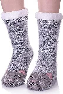 Womens Cute Cartoon Animal Fuzzy Slipper Socks Winter Soft Warm Fleece Lining Knit Home Socks With Grippers