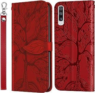 غطاء Mylne نقش لهاتف Samsung Galaxy A30S، جراب قلاب مغناطيسي من الجلد الصناعي به فتحات للبطاقات مع حامل، أحمر