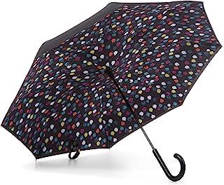 Totes Women's Inbrella Reverse-Close Folding Umbrella, Raindrops
