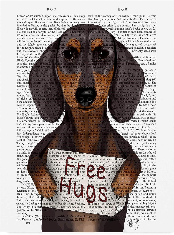 Trademark Fine Art Dachshund, Free Hugs by Fab Funky, 14x19