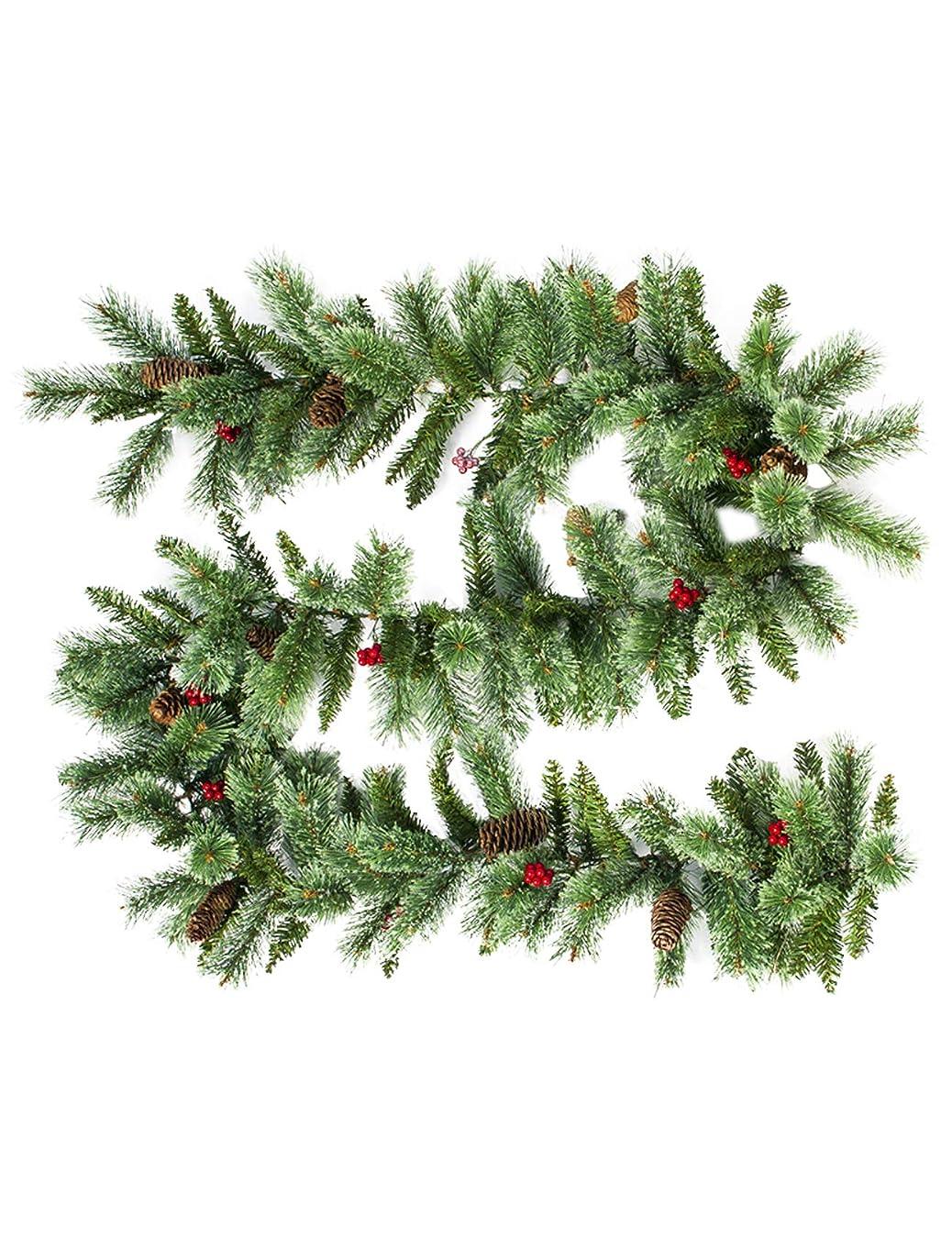 輪郭矢じり許可Legou クリスマスリース ツリーパインコーン 藤蔓 玄関 部屋 2.7m グリーン