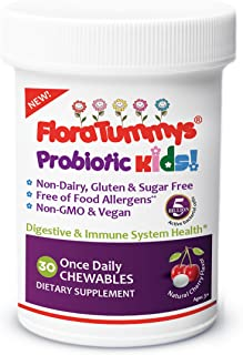 FloraTummys Kids Chewable Probiotic, Prebiotics: Dairy-Free, Gluten Free Probiotic, Sugar Free Peanut & Soy Free, Non-GMO, Tested & Free of Food Allergens, Vegan, Made in USA (1 Bottle)