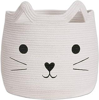 VK Living Large Woven Animal Cotton Rope Storage Basket Laundry Basket Organizer for Towels Blanket Toys Clothes Pet Hampe...