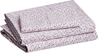 """amazonbasics Lightweight Super Soft Easy Care Microfiber Bed Sheet Set with 16"""" Deep Pockets - Twin, Pink Mini Floral"""