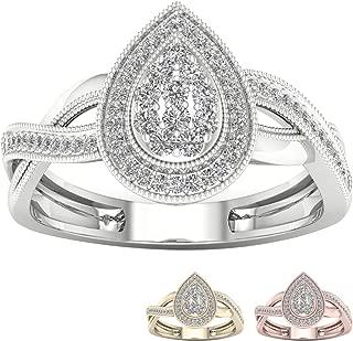 10K Gold 1/4 Ct TDW IGI Certified Pear Shape Cluster Halo Round Diamond Engagement Ring For Women(I-J,I2)
