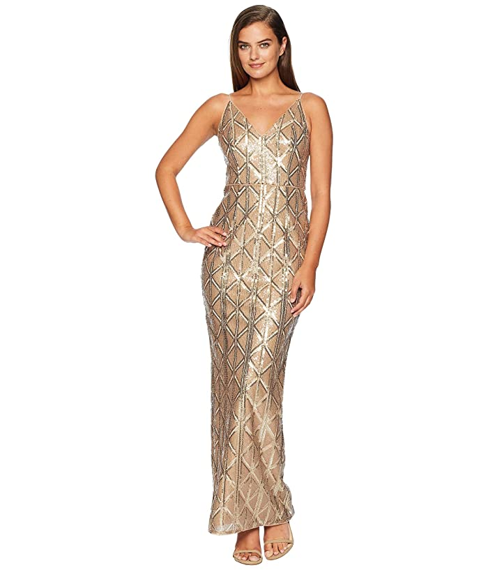 Vintage Evening Dresses and Formal Evening Gowns Adrianna Papell Sequin Long Dress Champagne Womens Dress $196.94 AT vintagedancer.com