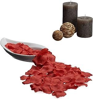 Relaxdays Pétales de roses 500 décoration mariage romantique fête cérémonie saint valentin, rouge foncé