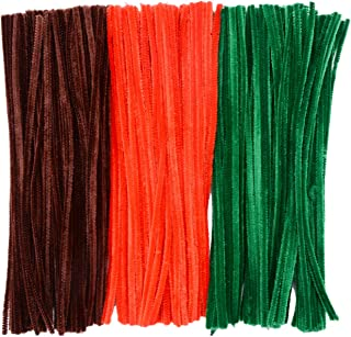 eborde 300 Pieces Christmas Pipe Cleaners Chenille Stems for Arts and Crafts Supplies, 12 Inches by 6 mm (Brown, Red and Blue)