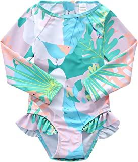 Baby Girls Long Sleeve Bathing Suits One Piece Swimsuits for Kids Sun Protection Rash Guard Swim Shirts
