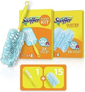 Swiffer Duster Kit Plumeau Attrape-Poussière + 15 Recharges, Attrape & Retient la Poussière