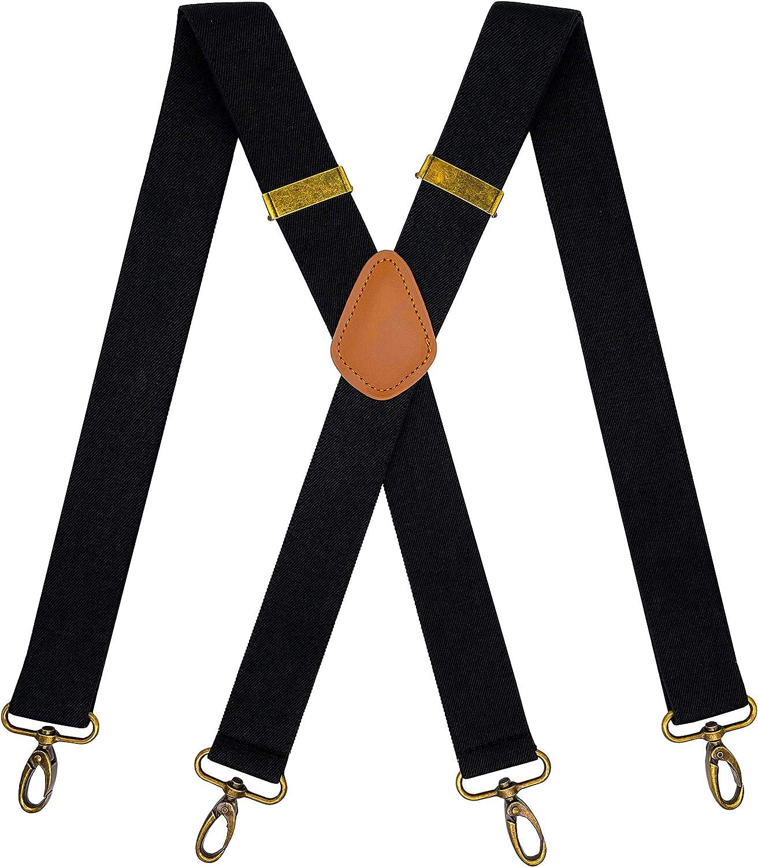 KRICJYH Vintage Suspenders for Men 4 Snap Hooks for Belt Loops Adjustable X Back