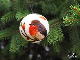 Christmas ornament with bird motif, Felted Christmas bird ornament, Christmas baubles, Tufted titmouse ornament, Christmas decor, Bird decor