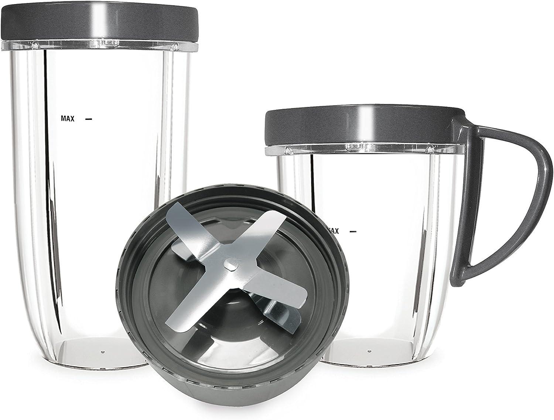 NutriBullet – Kit de Accesorios para exprimidor de 600 W y 900 W Nutriblast, Vasos, Tapas y Cuchillas