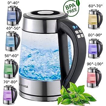 Glas Wasserkocher 1,7 Liter | 2200 Watt | Edelstahl mit Temperaturwahl | Teekocher | 100% BPA FREI | Warmhaltefunktion | LED Beleuchtung im Farbwechsel | Temperatureinstellung (40°C-100°C)