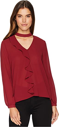 Tell Me More Textured Crepe de Chine Ruffle Top