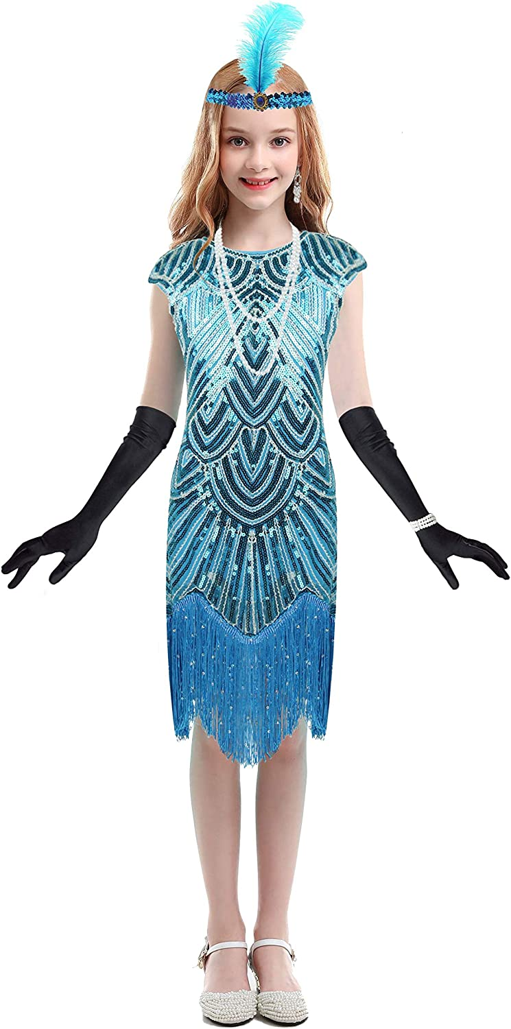 Girls Vintage Sequined Gatsby New Free Shipping Import Fringed 20s Dress Flapper Roaring