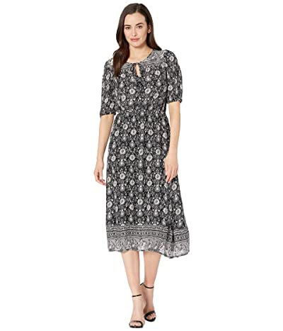 Lucky Brand Printed Peasant Dress (Black Multi) Women