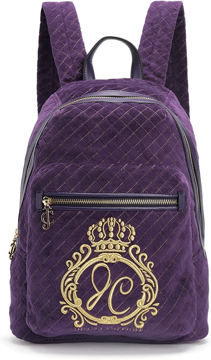 Juicy Couture Jc Monogram Velour Backpack, Aubergine