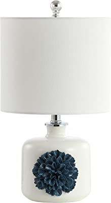 Safavieh TBL4171A Lighting Olinda White and Blue 18.25-inch (LED Bulb Included) Table Lamp