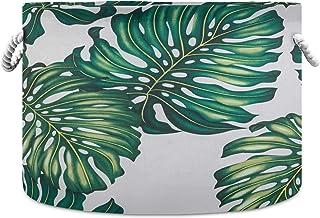 Grand panier de rangement en toile, plantes tropicales, fleurs, paniers de rangement pliables avec poignées, panier à ling...