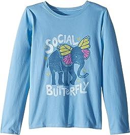 Social Butterfly Crusher T-Shirt Long Sleeve (Little Kids/Big Kids)
