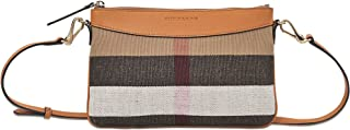 Women's Small Canvas Check and Leather Clutch Bag Beige Brown