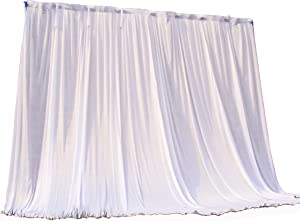 HAORUI 2.8m×3m White Ice Silk Backdrop Curtain Without Swag for Wedding Party Event Decoration