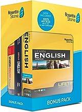 Rosetta Stone Learn English Bonus Pack Bundle| Lifetime Online Access + Grammar Guide + Dictionary Book Set| PC/Mac Keycard