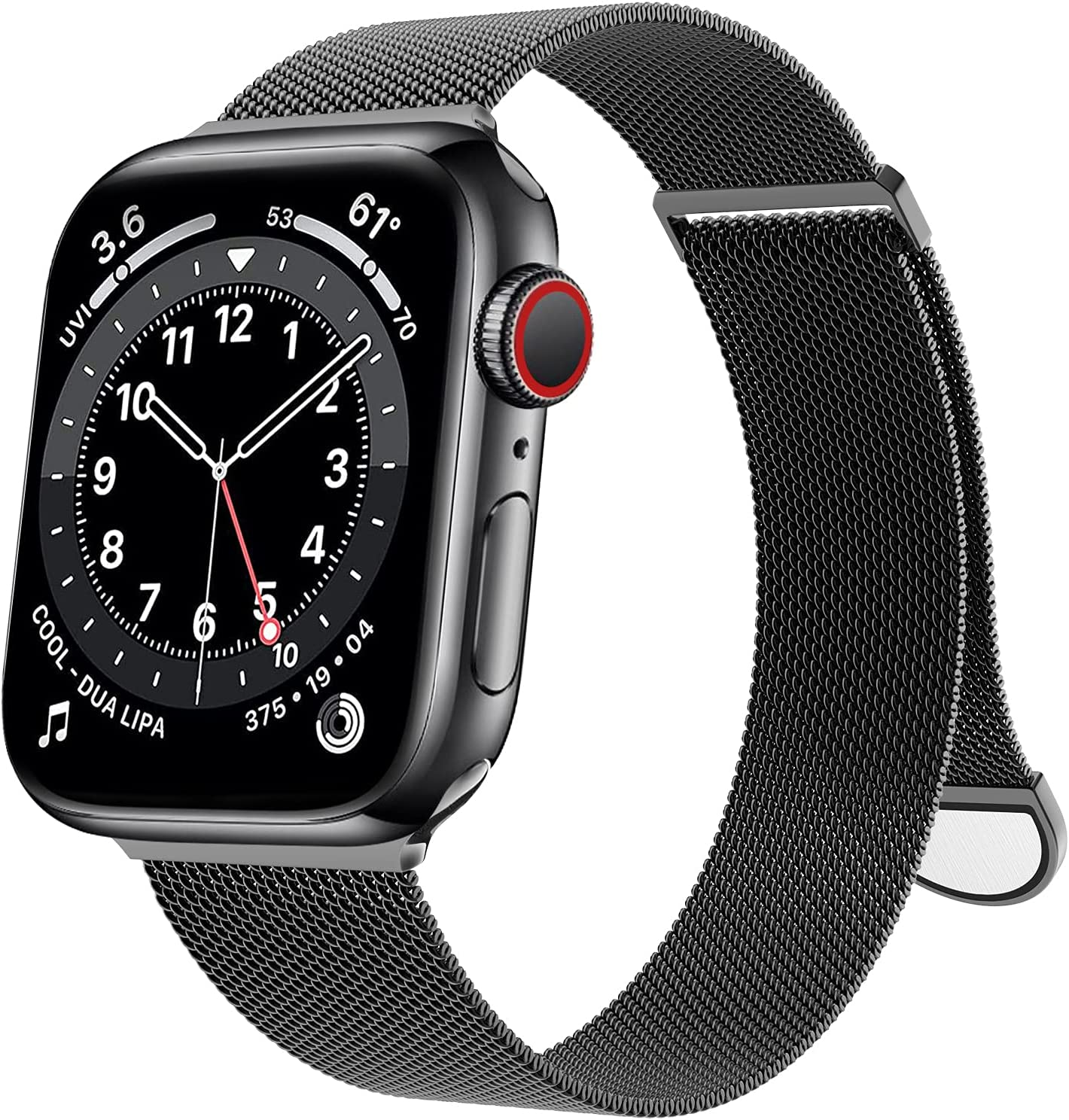 OULUOQI Compatible with Apple Watch Band 38mm 40mm 41mm 42mm 44mm 45mm Women and Men, Stainless Steel Mesh Loop Magnetic Clasp Replacement for iWatch Band Series SE 7 6 5 4 3 2 1 (42mm Black)