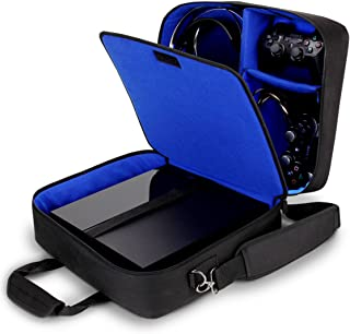 USA GEAR Funda Bolsa de Transporte de Consolas Compatible con Todos los Modelos de PS4 y PS3 - Correa de Hombro Acolchada y Almacenamiento de Accesorios para Controladores, Cables y Auriculares - Azul