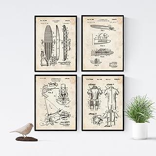 Nacnic Vintage - Pack de 4 Láminas con Patentes de Surf.