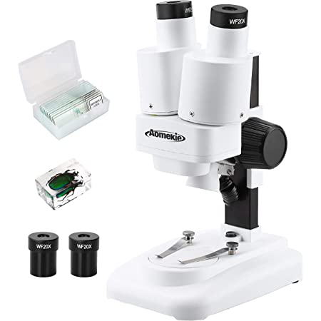 AOMEKIE Stereo Microscope for Kids Students 20-40X with 10Pcs Slides Insect Specimen LED Light Source Wide Field Eyepiece