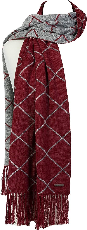 LUNA & TERRA-NAPOLI Scarf Wrap Shawl Knit 100% BABY ALPACA (Imperial Red/Silver)