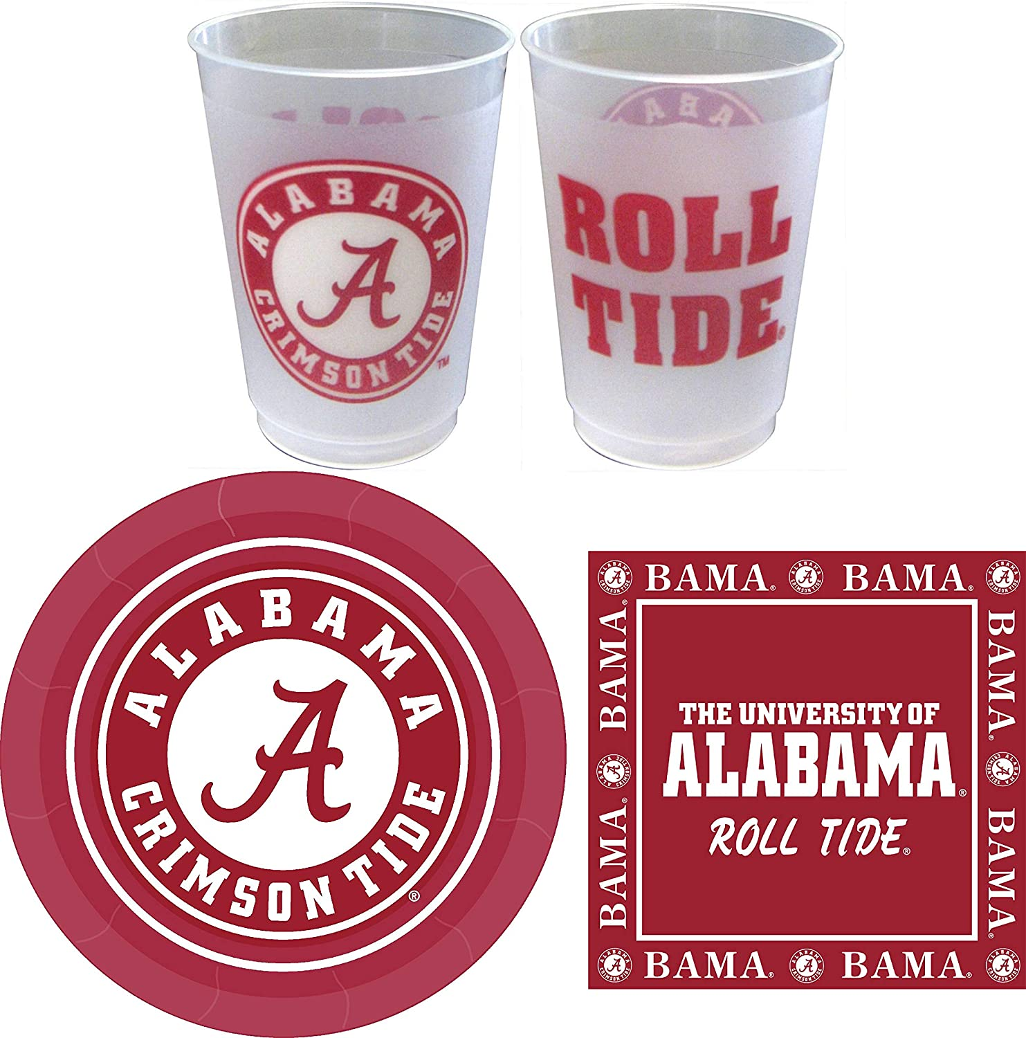Alabama Crimson Tide Party Supplies for 24 Guests - 81 Pieces