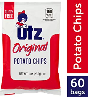 UTZ Potato Chips, Regular – 1 Oz. Bags (60Count) – Crispy Potato Chips Made From Fresh Potatoes, Crunchy Individual Snacks To Go, Cholesterol Free, Trans-Fat Free, Gluten Free Snacks