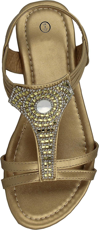 Yinka Shoes Ladies Faux Leather PU Open Toe Aztec T Bar Diamante Flat Elastic Sling Back Gladiator Summer Sandals Size 3-8