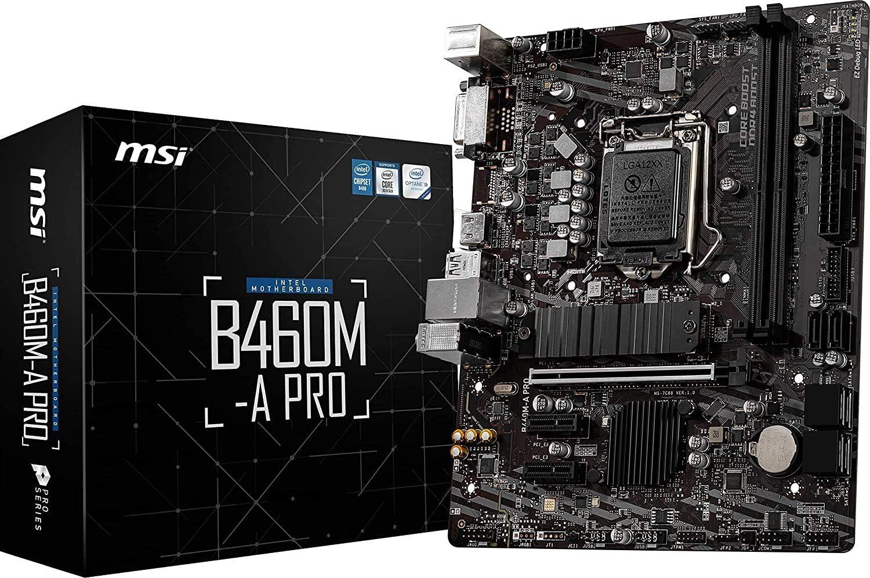 MSI - B460M-A PRO - Placa Base Pro Series (10th Gen Intel Core, LGA 1200 Socket, DDR4, USB 3.2 Gen 1, Gigabit LAN, DVI-D/HDMI)