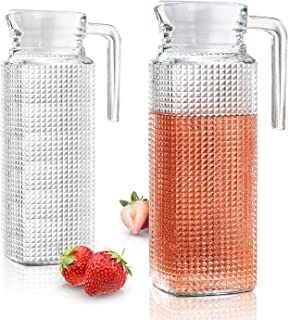Glass Pitchers With Lid And Spout - 2 Piece Set 1-liter Diamond Design Water Pitcher With Handle   Chilled Beverages, Homemade Juice, Iced Tea Easy Pour Beverage Carafe